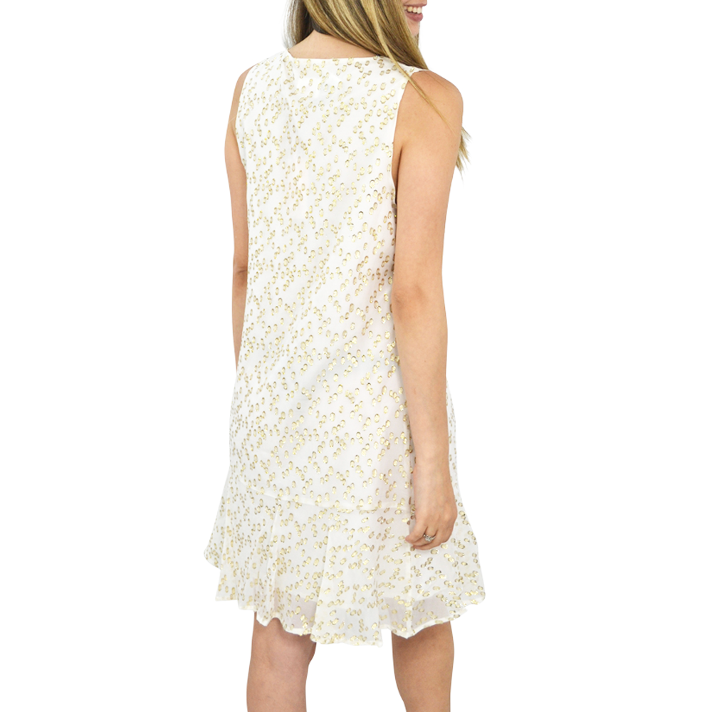 Womens Julie Brown Selma Swiss Dot Chiffon Dress in White - Brother's on the Boulevard