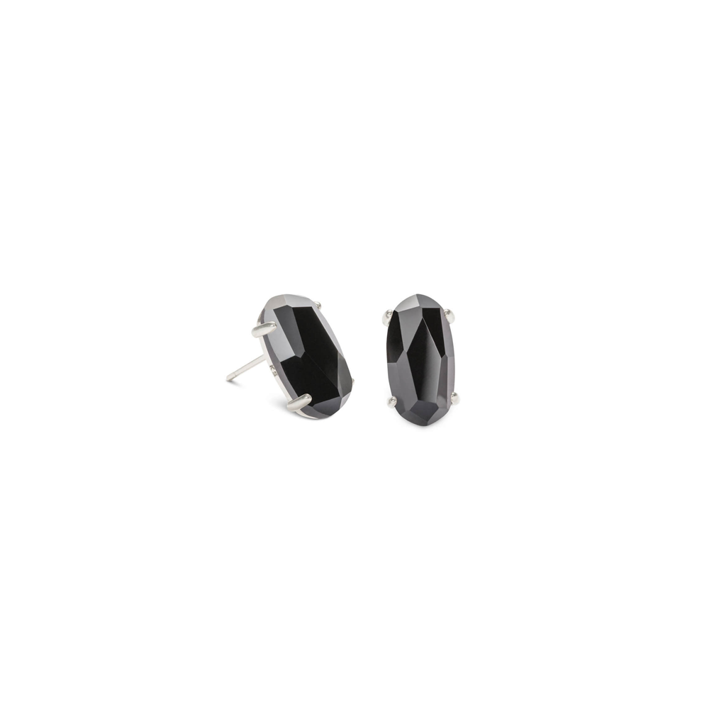 Womens Kendra Scott Betty Silver Stud Earrings In Black Opaque Glass - Brother's on the Boulevard