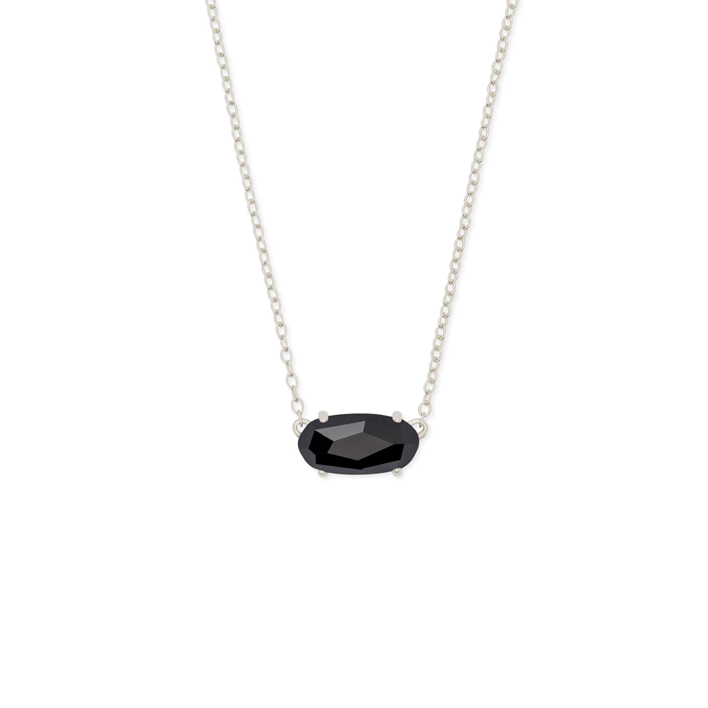 Kendra Scott Ever Silver Pendant Necklace In Black Opaque Glass