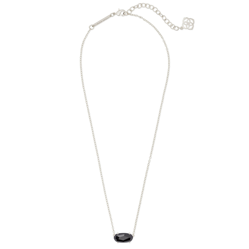 Womens Kendra Scott Ever Silver Pendant Necklace In Black Opaque - Brother's on the Boulevard