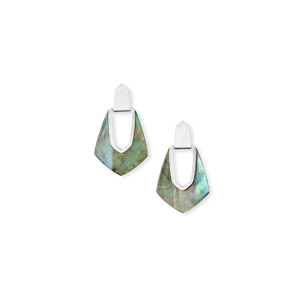 Kendra Scott Kensley Silver Statement Earrings in Black Mother of Pearl