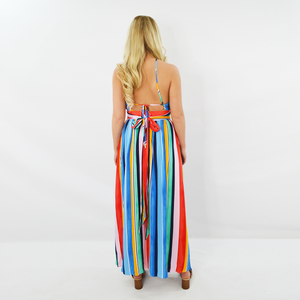 Womens Rouge Keyhole High Slit Maxi Dress in Multicolor - Brother's on the Boulevard