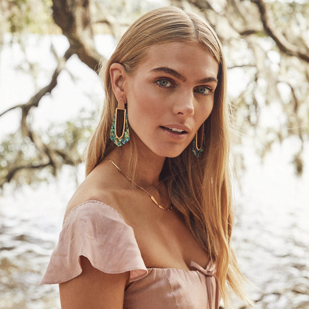 Kendra Scott Kiernan Rose Gold Hoop Earrings in Abalone Shell