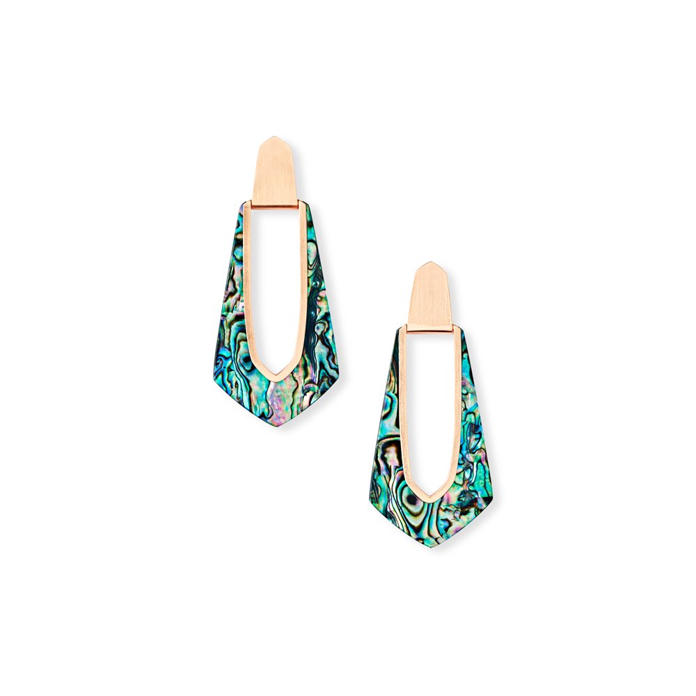 Womens Kendra Scott Kiernan Rose Gold Hoop Earrings in Abalone Shell - Brother's on the Boulevard