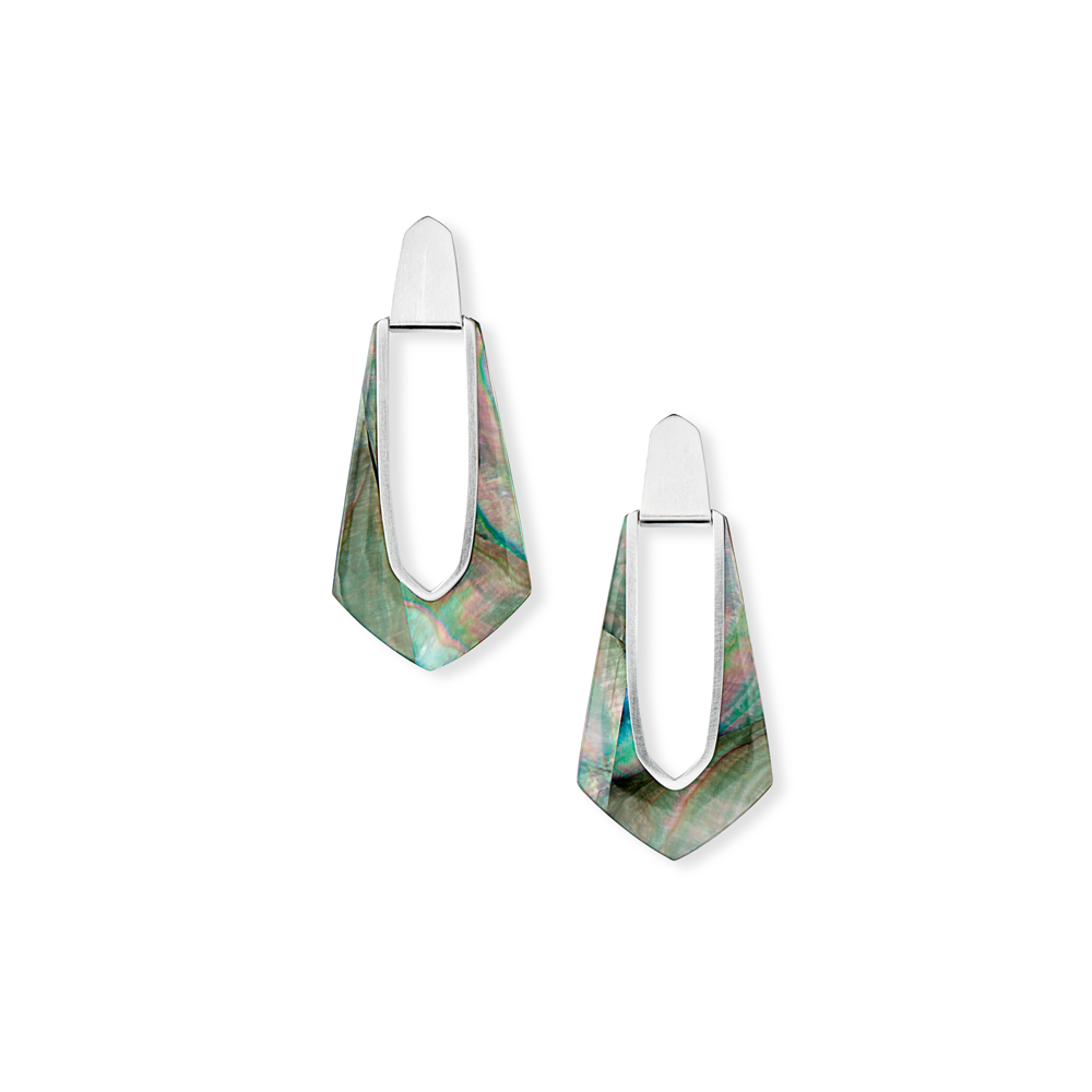 Kendra Scott Kiernan Silver Hoop Earrings in Black Mother of Pearl