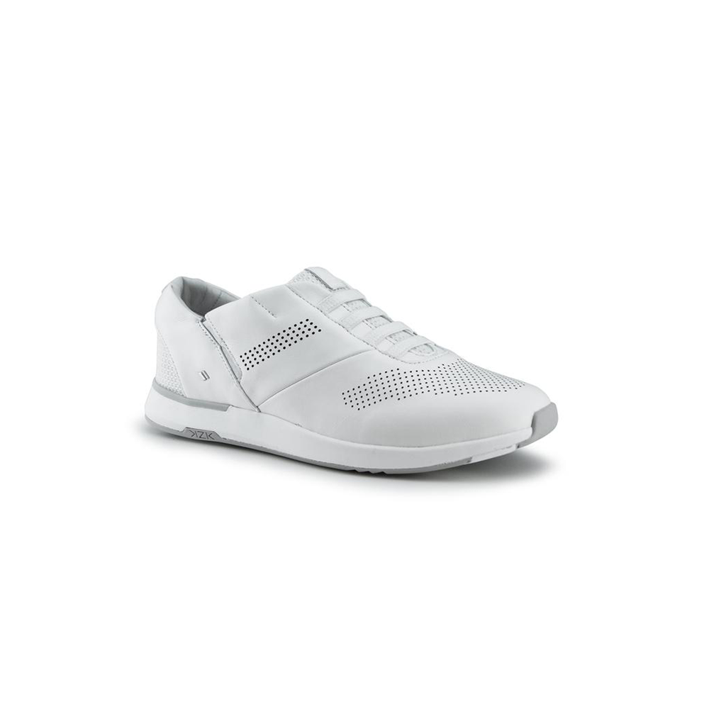 Womens Kizik Shoes Atlanta White Slip-On Sneaker in White - Brother's on the Boulevard