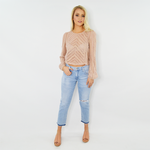 Womens Rouge Floral Lace Crop Top in Blush - Brother's on the Boulevard