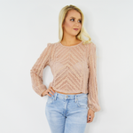 Rouge Floral Lace Crop Top in Blush