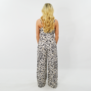 Womens Rouge Leopard Print Spaghetti Strap Jumpsuit in Ivory - Brother's on the Boulevard