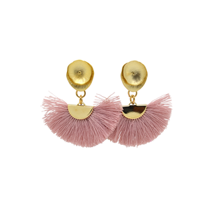 Womens Luxe by Virtue Lily Post Fan Statement Earring in Mauve - Brother's on the Boulevard