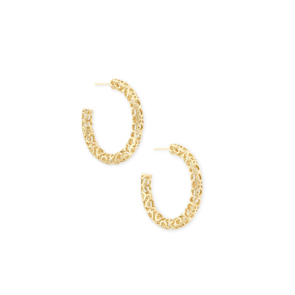 Womens Kendra Scott Maggie Small Hoop Earrings In Gold Filigree - Brother's on the Boulevard