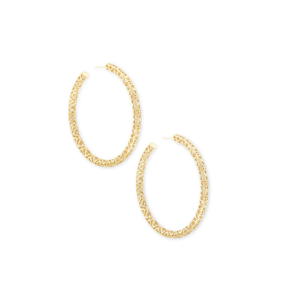 Womens Kendra Scott Maggie Hoop Earrings In Gold Filigree - Brother's on the Boulevard
