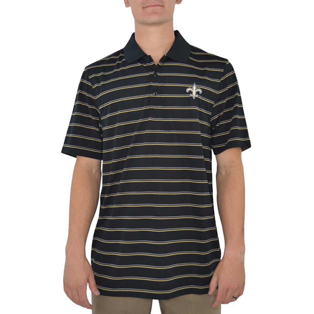 Cutter & Buck New Orleans Saints Venture Stripe Polo in Black