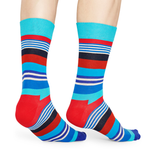 Happy Socks Multi Stripe Pattern in Blue, Red, and Turquoise