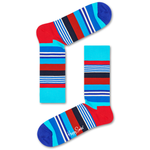 Mens Happy Socks Multi Stripe Pattern in Blue, Red, and Turquoise - Brother's on the Boulevard