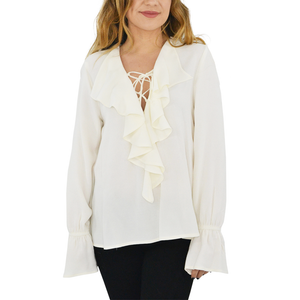 Womens Maven West Ruffle Lace Up Front Blouse in Ivory - Brother's on the Boulevard