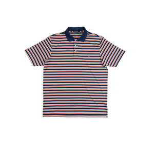 Mens Southern Marsh Bermuda Warwick Stripe Performance Polo in Navy/Orange - Brother's on the Boulevard