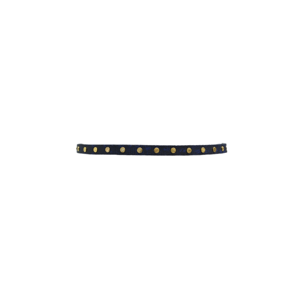 ADA Collection Cala Small Python Belt in Navy