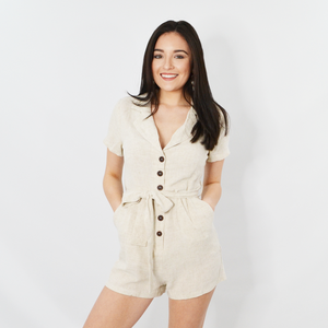 Womens NYLA Short Sleeve Button Romper in Oatmeal - Brother's on the Boulevard