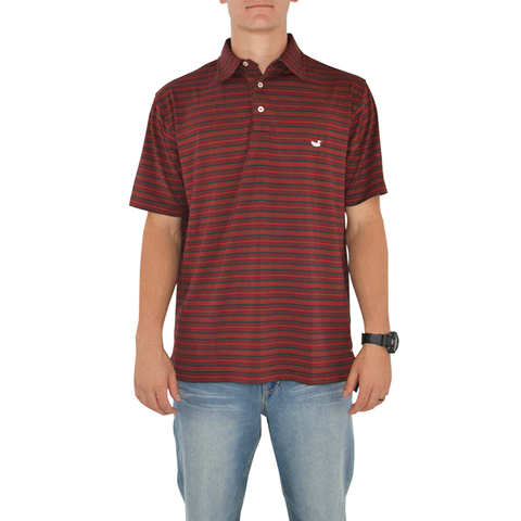 Mens Southern Marsh Aiken Ragin Cajuns Bermuda Performance Polo in Red and Black - Brother's on the Boulevard