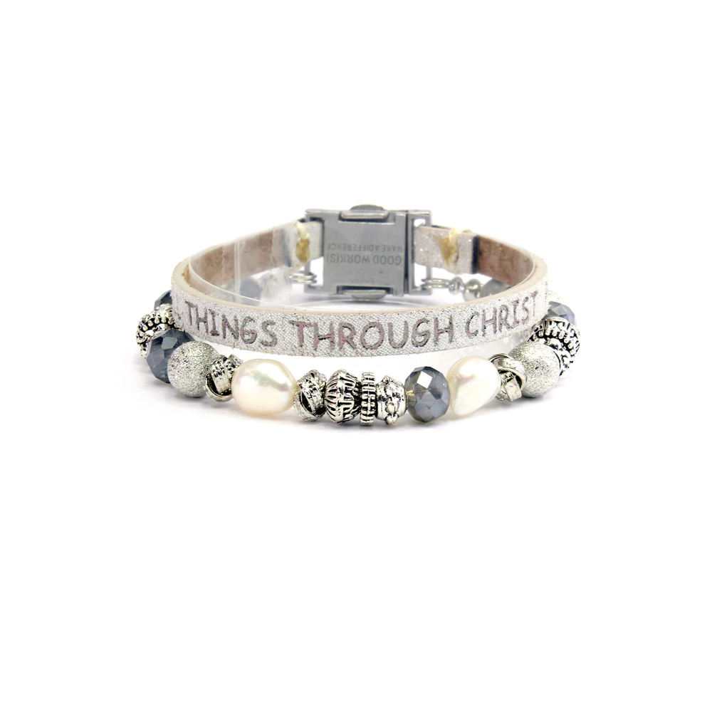 Good Works Philippians 4:13 Magnetic Clasp Bracelet in White
