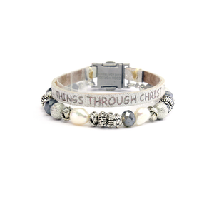 Womens Good Works Philippians 4:13 Magnetic Clasp Bracelet in White - Brother's on the Boulevard