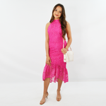 Forest Lily Lace Ruffled Dress in Fuchsia