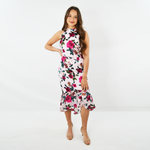 Forest Lily Floral Satin Burnout Dress in Pink Combo