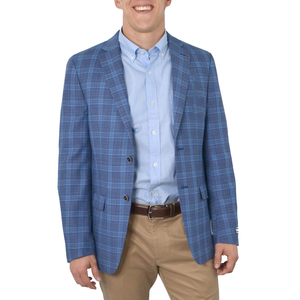 Mens Michael Kors Windowpane Plaid Blazer in Light Blue - Brother's on the Boulevard