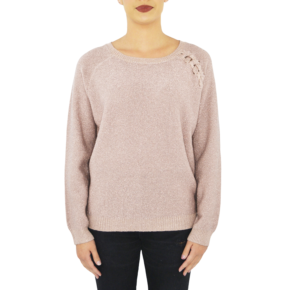 PPLA Glitz Knit Sweater In Blush