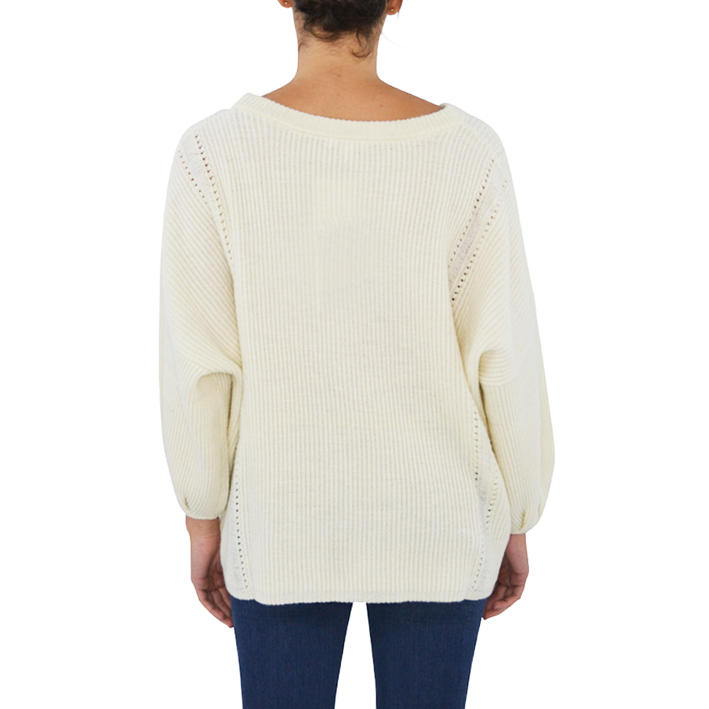 Womens Ella Moss Delfina Ribbed Sweater in Natural - Brother's on the Boulevard