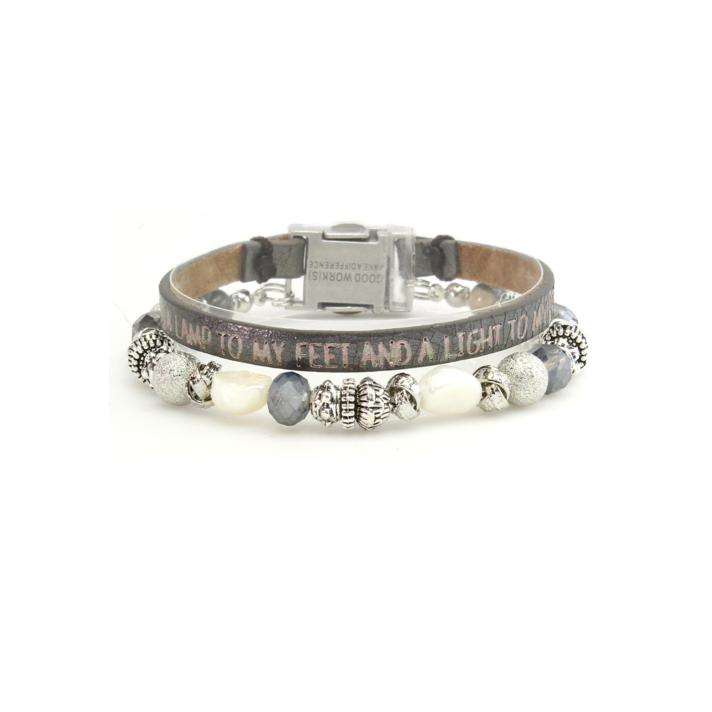 Good Works Palms 119:105 Magnetic Clasp Bracelet in Lead