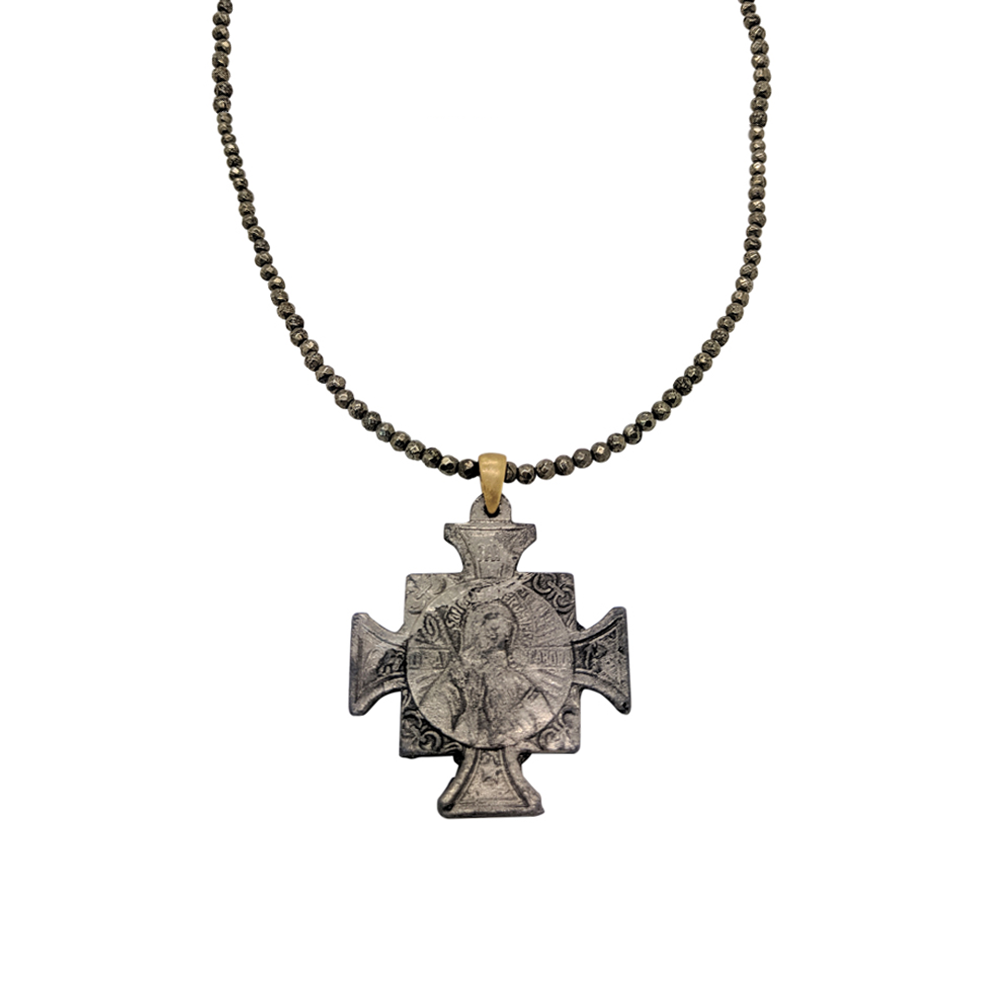 Womens Tricia Ryan Pyrite Chain with St. Benedict in Pyrite - Brother's on the Boulevard