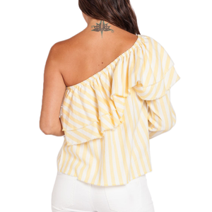 Womens Velvet Heart Richelle One Shoulder Striped Top in Yellow and White - Brother's on the Boulevard