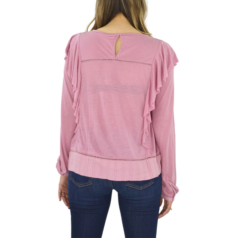 Womens Lucky Brand Ruffle Detail Long Sleeve Blouse in Pink - Brother's on the Boulevard