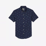 Bonbos Sharking Around Riviera Short Sleeve Button Down in Dark Blue