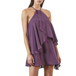 Shilla Lustre Layered Mini Dress in Dusty Purple