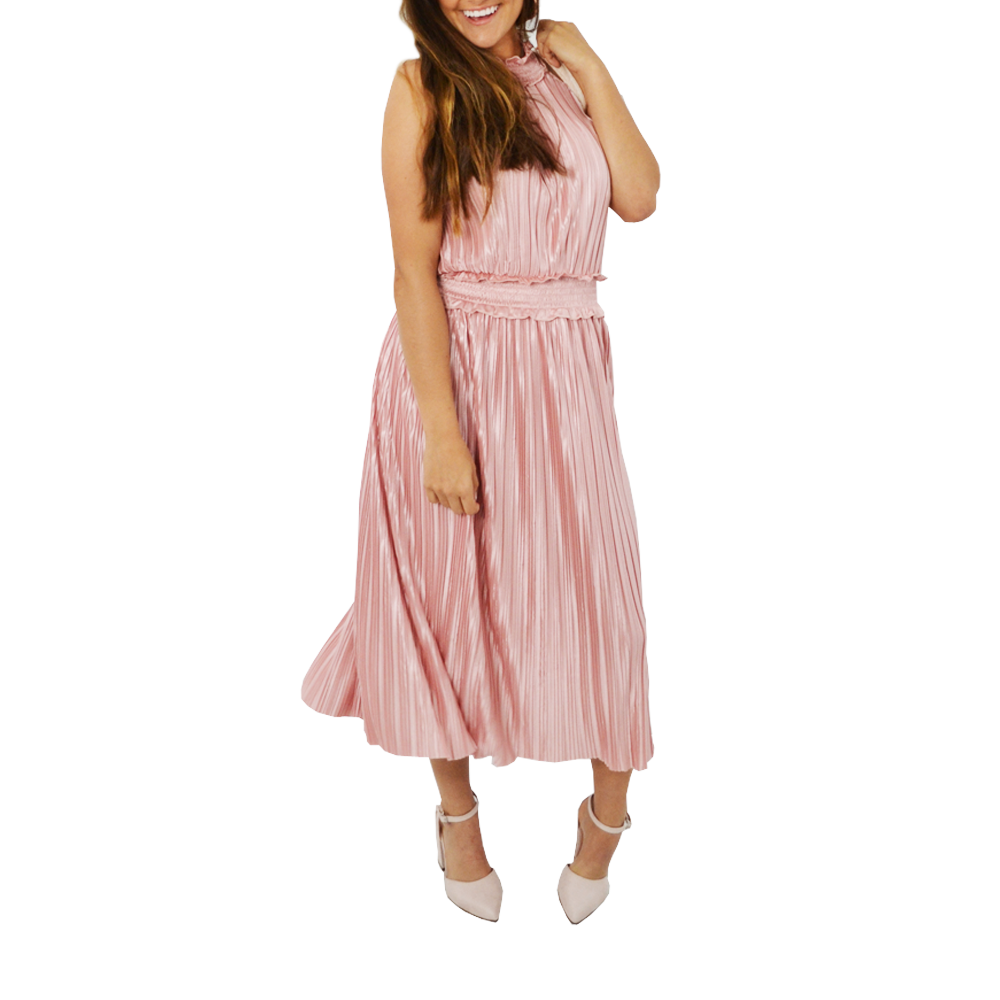 Womens Catherine Kate Illume Pleat Long Dress in Dusty Pink - Brother's on the Boulevard