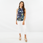 Womens Shilla Social Sleeveless Floral Tank in Navy - Brother's on the Boulevard