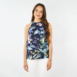 Shilla Social Sleeveless Floral Tank in Navy