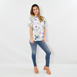 Womens Shilla Social Floral Short Flared Sleeve Top in White - Brother's on the Boulevard