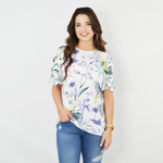 Shilla Social Floral Short Flared Sleeve Top in White