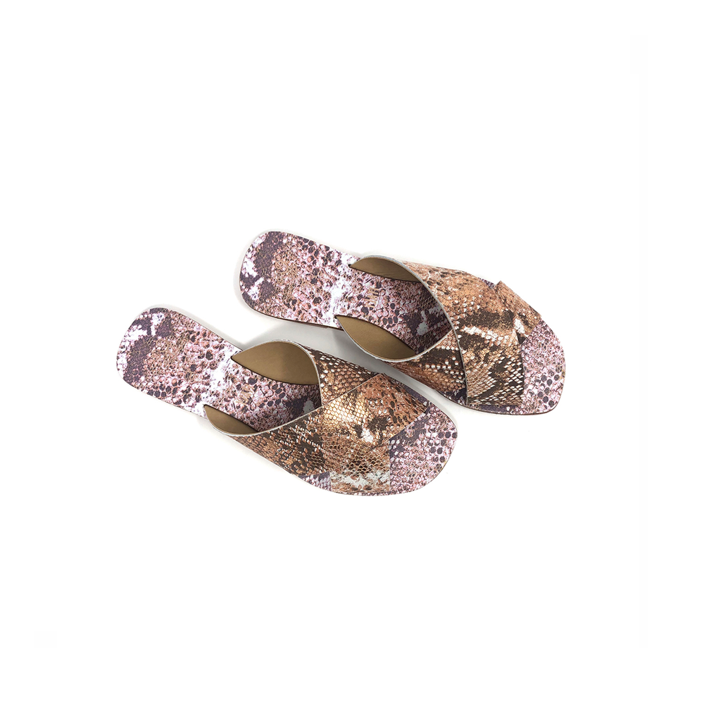 Womens Seychelles Total Relaxation Slide On Sandal in Rose Gold Exotic - Brother's on the Boulevard