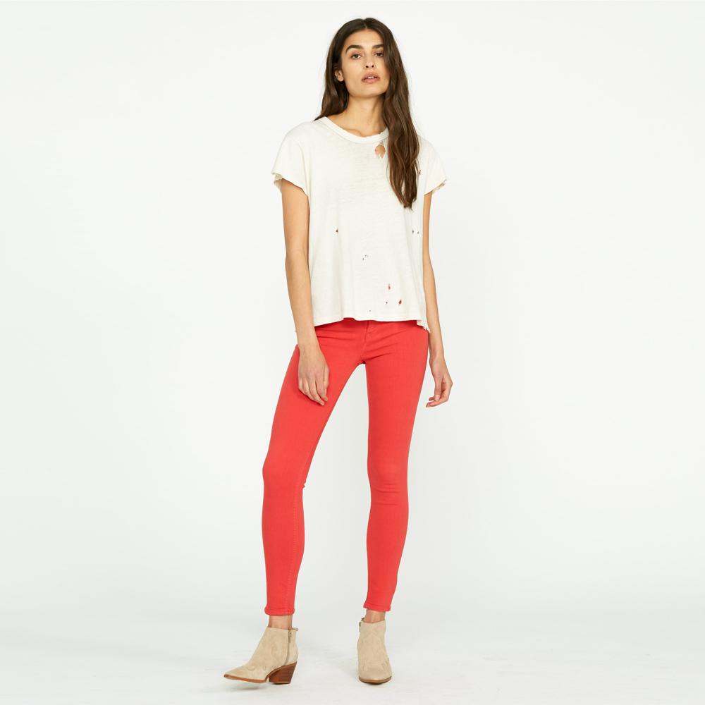 Womens Hudson Jeans Nico Midrise Super Skinny in Cherry - Brother's on the Boulevard