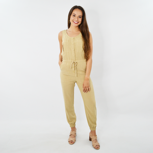 Womens NYLA Button Down Jumpsuit in Khaki - Brother's on the Boulevard