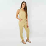 NYLA Button Down Jumpsuit in Khaki