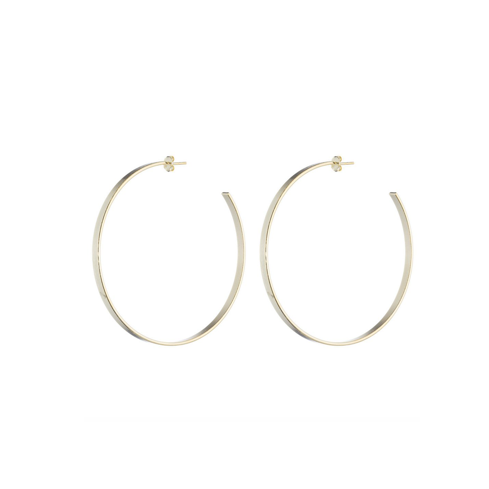 Sheila Fajl Thin Flat Hoop Earring in Gold