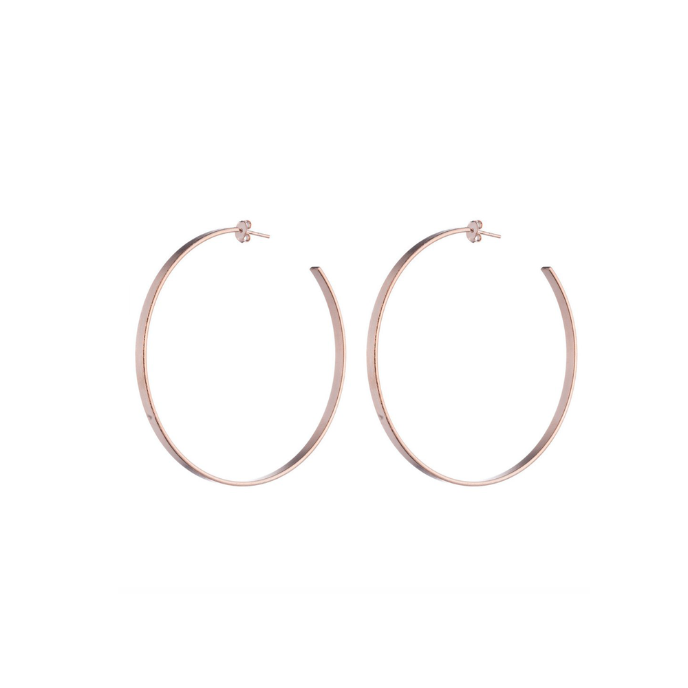 Sheila Fajl Thin Flat Hoop Earring in Rose Gold