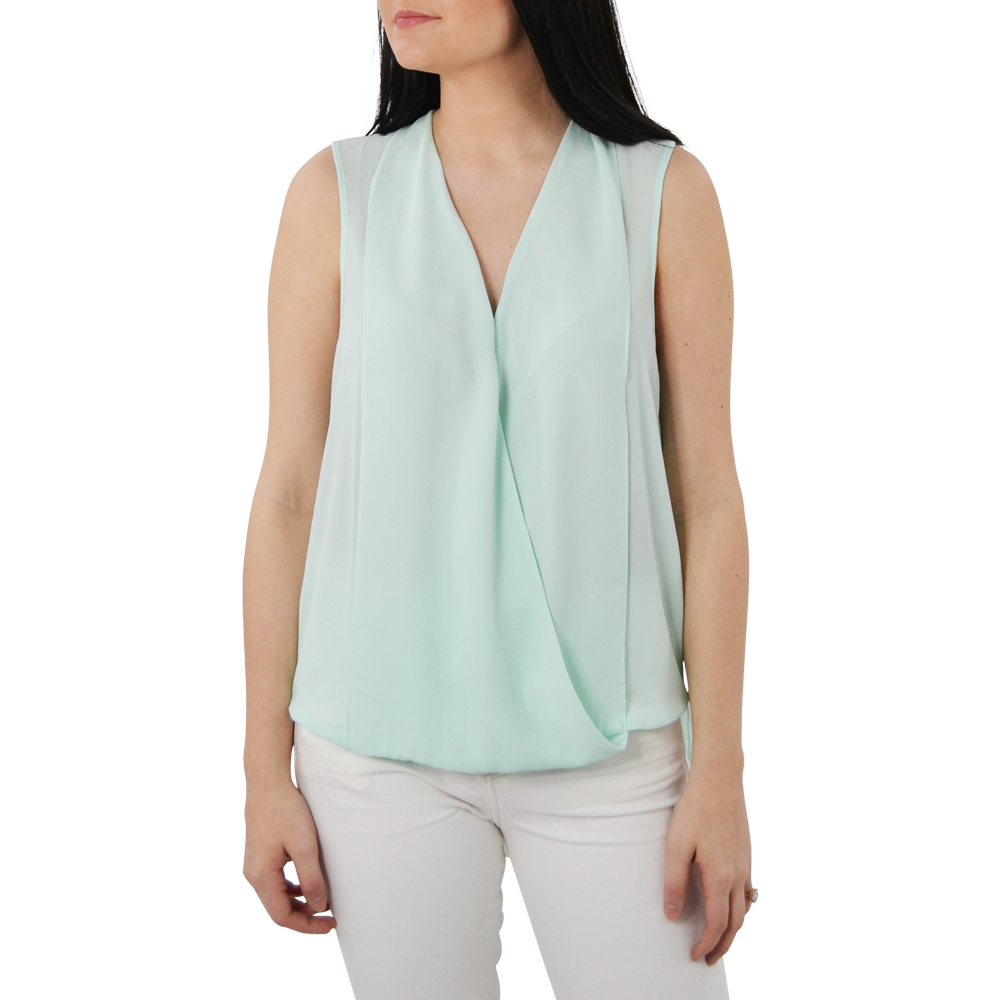 Womens Three Eighty Two Monroe Sleeveless Surplice in Mint - Brother's on the Boulevard
