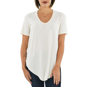 Womens Fifteen Twenty Shirttail Hem Short Sleeve Tee in Cream - Brother's on the Boulevard